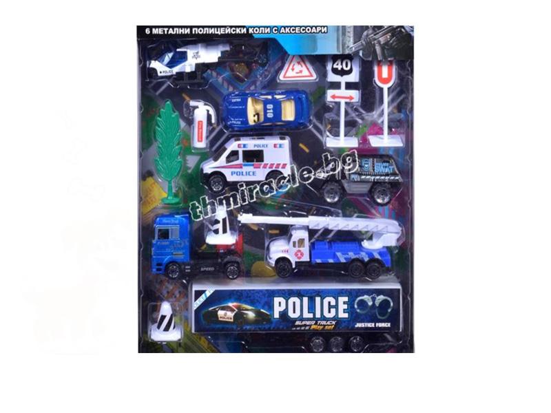 Метални полицейски коли + аксесоари код 402-008